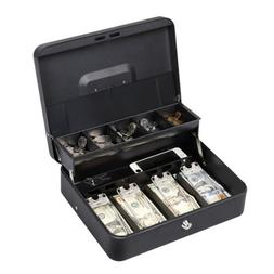 "11.8"" Cash Box with Money Tray lock Large Steel 5 Compartmen"