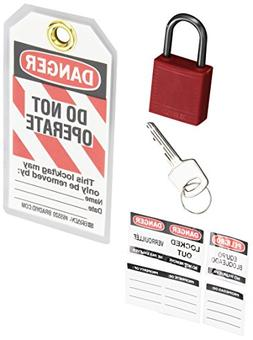 Brady 123143, Red Compact Safety Padlock Kit,