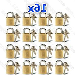 16 Small Metal Padlocks Mini Brass Tiny Box Locks Keyed Jewe