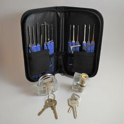 19 Pc Lock Pick Training Set with 2 clear training locks