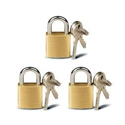 ATB 3 Pc Small Metal Padlock Solid Brass Mini Lock
