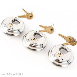 3 Stainless Steel Armor Disc Padlocks Trailer / Self Storage