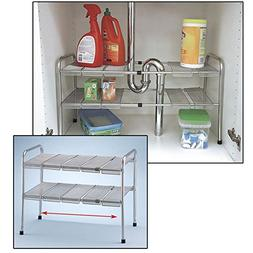 ATB 2 Tier Expandable Adjustable Under Sink Shelf Storage Sh