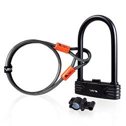 BV Bike Combination U-Lock with 4ft Flex Cable Set Anti Thef