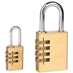 Combination Padlocks 2 Pack Large Small Lock, 4 Digit For Gy