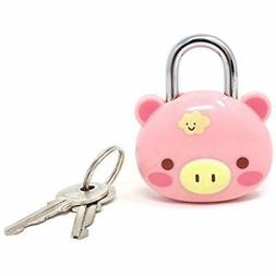 Cute Keyed Padlocks Pink Pig Lock Keys For Suitcases, Backpa