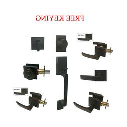 Oil Rubbed Bronze Door Lever Locks Square Plate Keyed privac