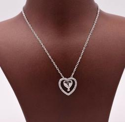 Double Heart Key Lock CZ Pendant Necklace Cable Chain Real S