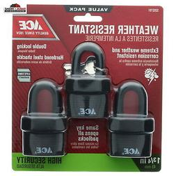 "Set of 3 Keyed Alike Padlocks - 2"" Steel Shackled ~ New ~ Fr"