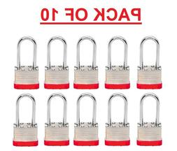 PADLOCKS BOX of 10!!!  LONG SHACKLE   Laminated Steel Keyed