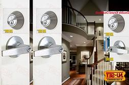 NuSet Satin Chrome Door Lever Lock and Double Cylinder Dead