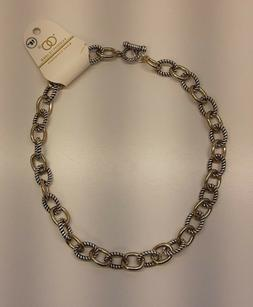 Silver/gold-tone metal linked chain twist cable wire T-lock