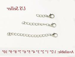 Silver plated Extender Safety Cable link Chain Necklace Brac