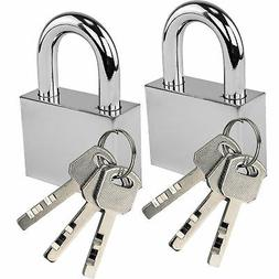 Two Solid Steel Padlocks Brushed Silver Finish Indoor Outdoo