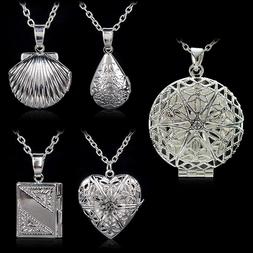 Women's Silver Plated Picture Locket Hollow Photo Pendant Ch